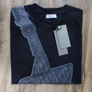 Shirts - Dior Black Bag Pattern Men Tshirt